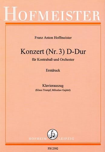 Franz Anton Hoffmeister - Kontrabass-Konzert n ° 3 D-Dur - Partition - di-arezzo.co.uk