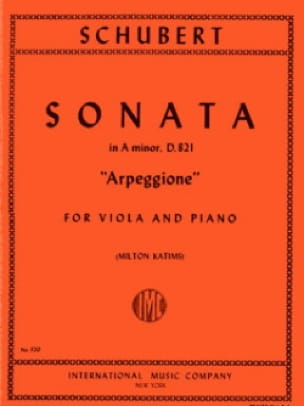 SCHUBERT - Sonata Arpeggione, the minor D.821 - Alto - Partition - di-arezzo.co.uk