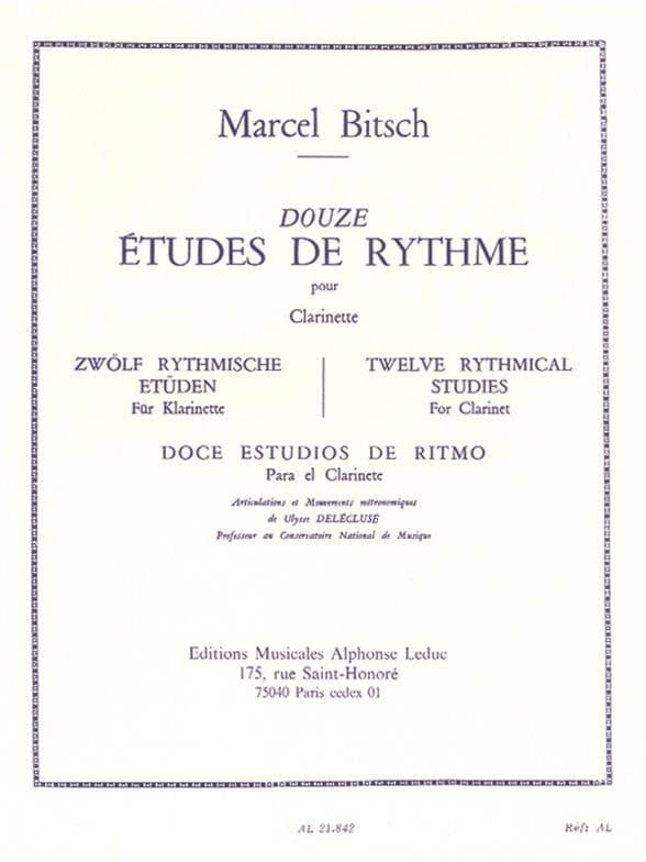 12 Etudes de rythme - Clarinette - Marcel Bitsch - laflutedepan.com