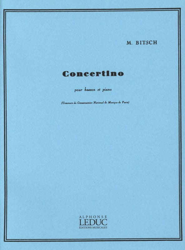 Marcel Bitsch - Concertino para fagot - Partition - di-arezzo.es