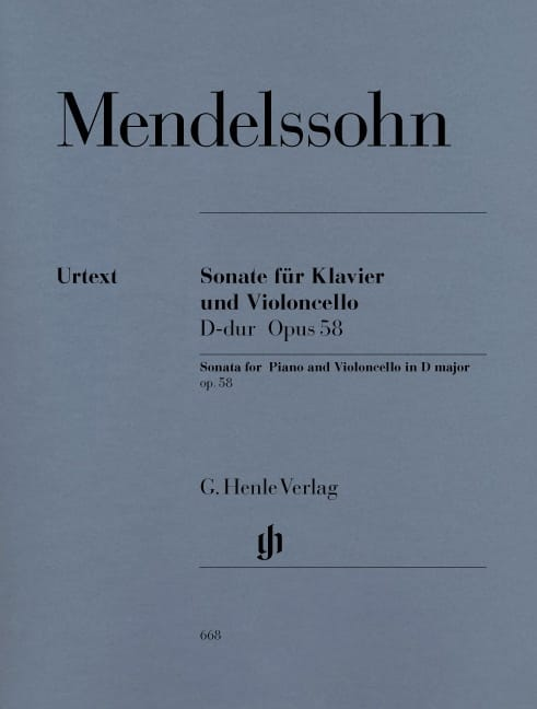 MENDELSSOHN - Cello Sonata en la mayor D op. 58 - Partition - di-arezzo.es