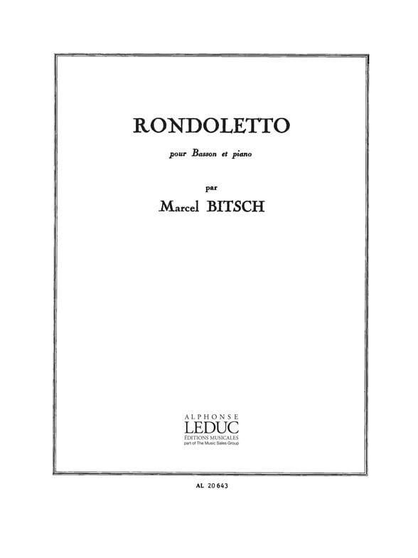 Marcel Bitsch - Rondoletto - Partition - di-arezzo.com