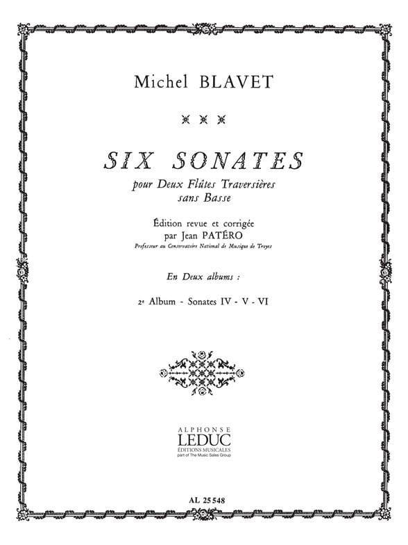 Michel Blavet - 6 Sonates - Volume 2 - 2 Flûtes - Partition - di-arezzo.fr