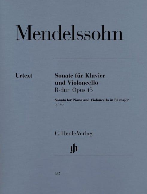 MENDELSSOHN - Sonata para violonchelo en Bb Major op. 45 - Partition - di-arezzo.es