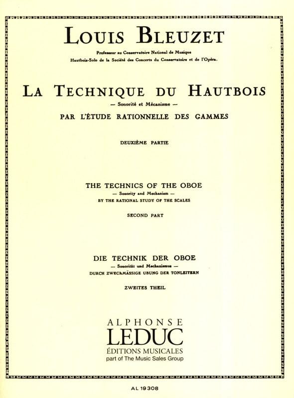 Louis Bleuzet - The oboe technique - Volume 2 - Partition - di-arezzo.co.uk