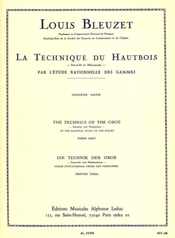 Louis Bleuzet - The oboe technique - Volume 3 - Partition - di-arezzo.co.uk