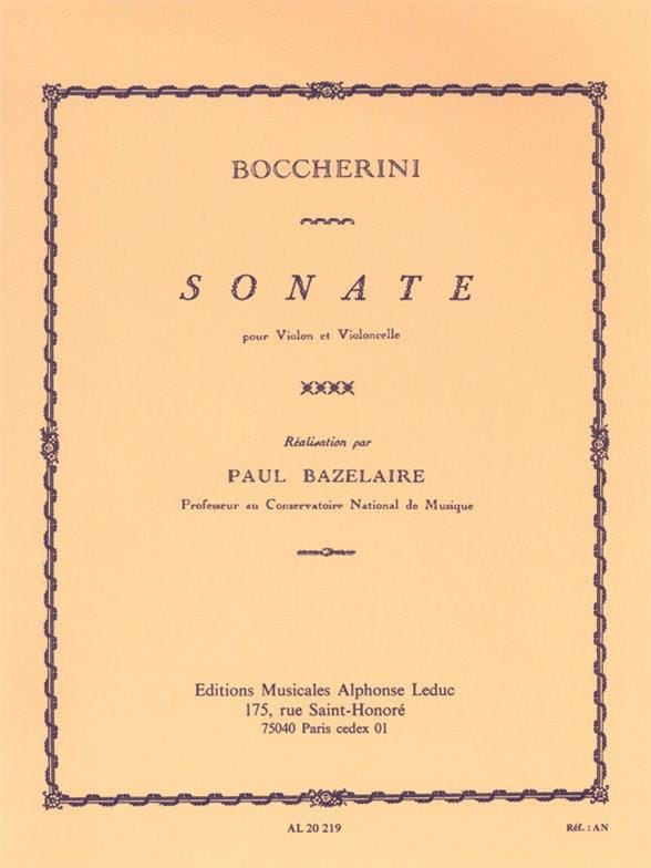 BOCCHERINI - Sonata - Partition - di-arezzo.co.uk