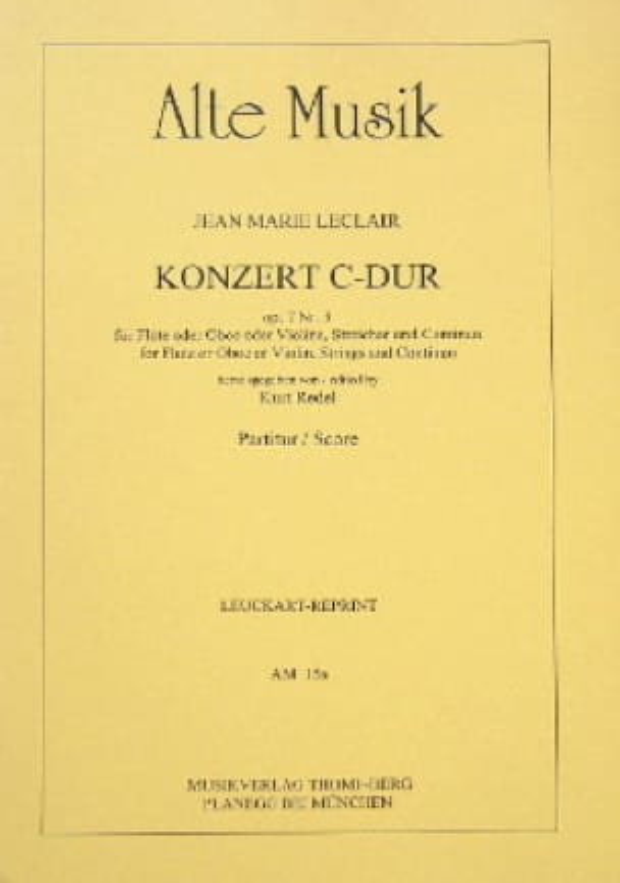 Concerto en ut maj. op. 7 n° 3 - Conducteur - laflutedepan.com