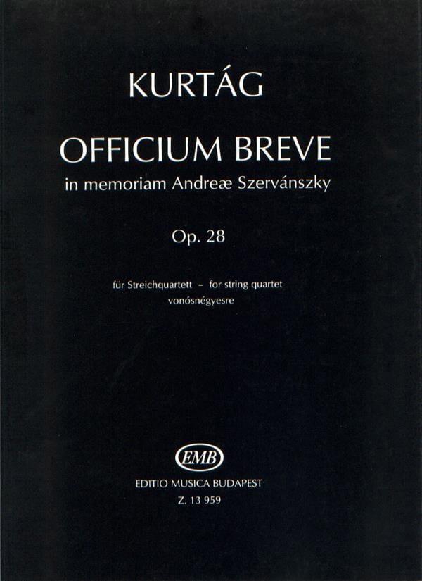 György Kurtag - Officium breve op. 28 - Spielpartitur - Partition - di-arezzo.co.uk