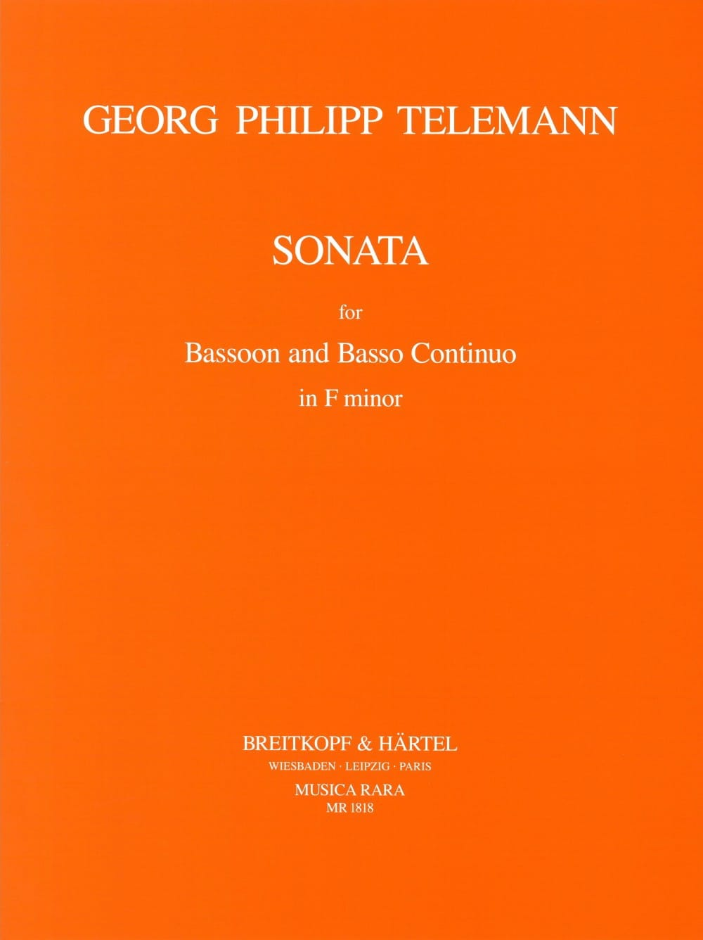 TELEMANN - Sonata in F minor - Bassoon - Partition - di-arezzo.com