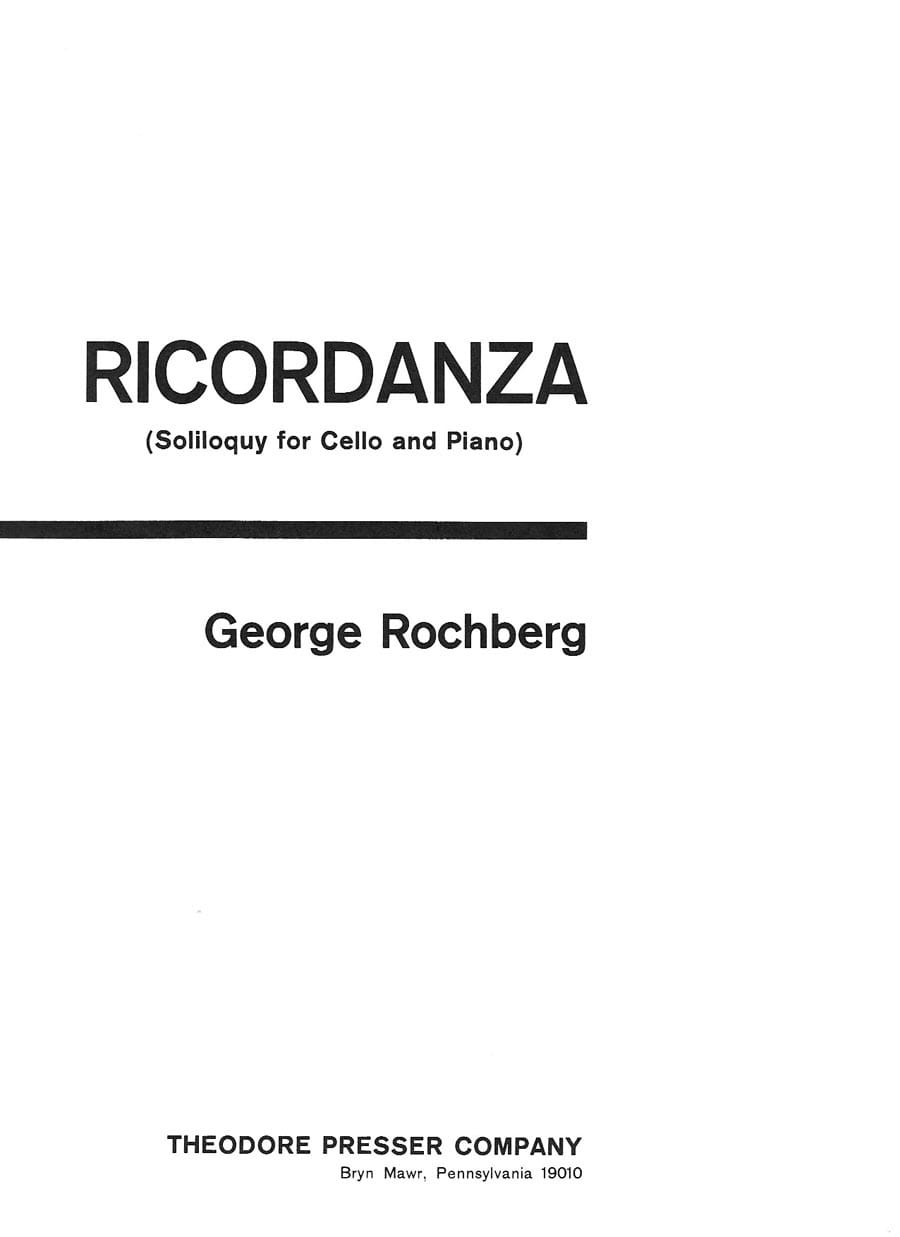 Ricordanza - George Rochberg - Partition - laflutedepan.com