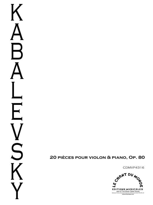Dimitri Kabalevski - 20 Pieces op. 80 - Partition - di-arezzo.co.uk
