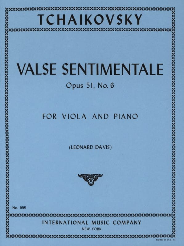 TCHAIKOVSKY - Valse sentimentale op. 51 n° 6 - Partition - di-arezzo.ch