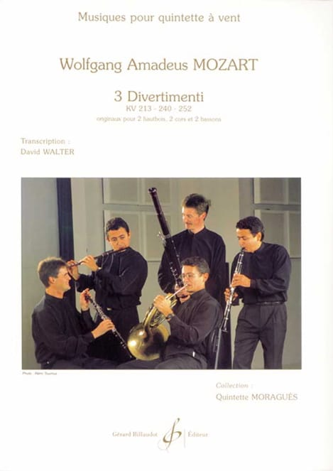 MOZART - 3 Divertimenti KV 213, 240, 252 - Woodwind quintet - Partition - di-arezzo.co.uk