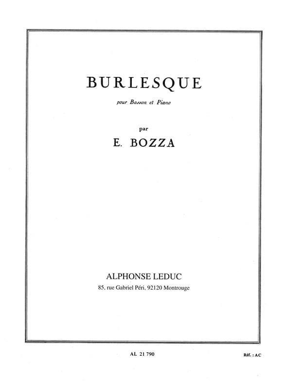 Eugène Bozza - Burlesque - Partition - di-arezzo.com