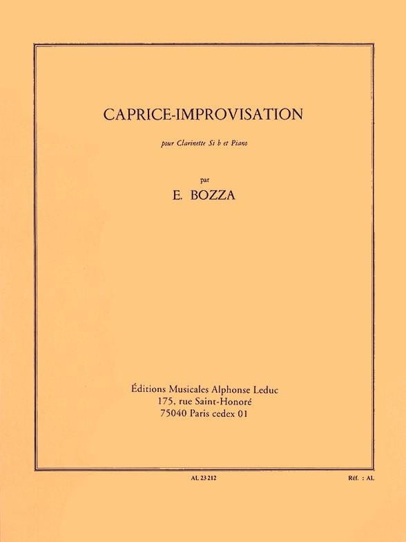 Eugène Bozza - Improvisation-Caprice - Partition - di-arezzo.co.uk