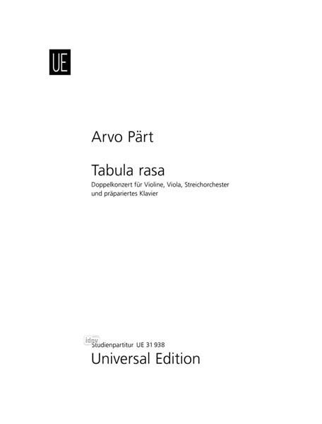 Tabula Rasa 1977 - PÄRT - Partition - Grand format - laflutedepan.com
