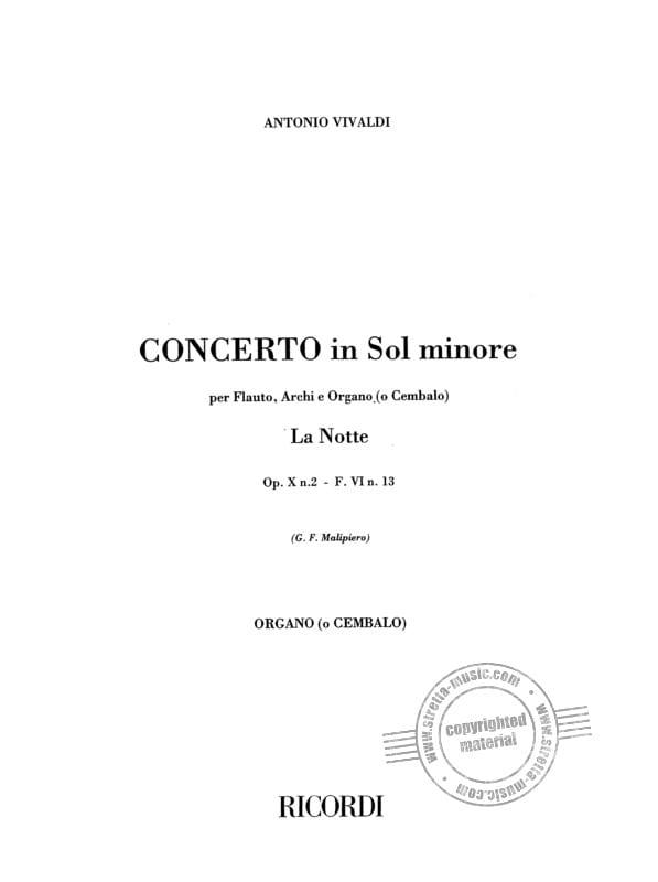 VIVALDI - Concerto in sol minor The Notte F 6 No. 13 RV 439 op. 10 n ° 2 - Set - Partition - di-arezzo.co.uk