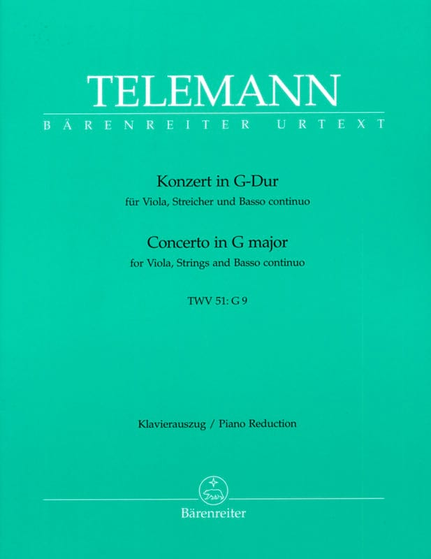 TELEMANN - Concerto in G Major TWV 51: G9 -Alto and Piano - Partition - di-arezzo.co.uk