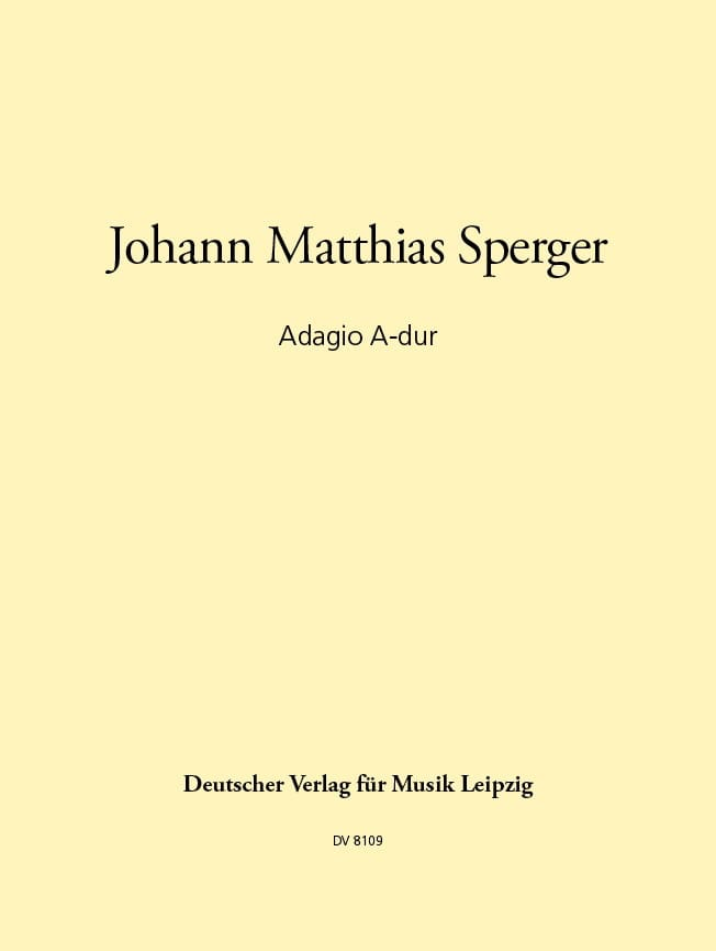 Johann Matthias Sperger - Adagio A-Dur - Kontrabass Klavier - Partition - di-arezzo.co.uk