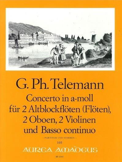 Concerto in a-moll -2 Altblockflöten 2 Oboen 2 Violinen BC - Partitur + Stimmen - laflutedepan.com
