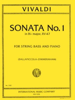 VIVALDI - Sonata No. 1 in B flat maj. RV 47 - String bass - Partition - di-arezzo.co.uk