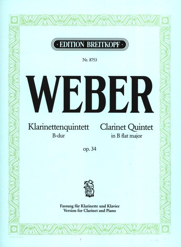 Klarinettenquintett B-Dur op. 34 -Klarinette Klavier - laflutedepan.com