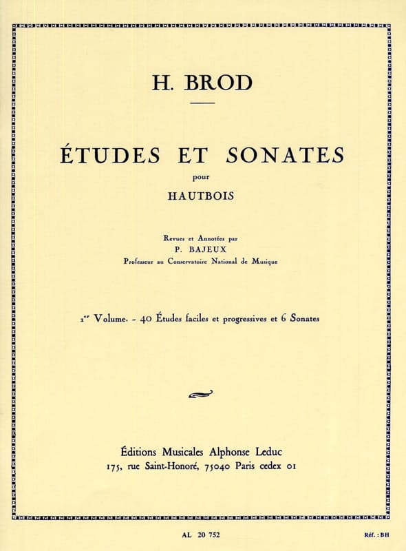 Henri Brod - Studies and Sonatas Volume 1 - Partition - di-arezzo.co.uk