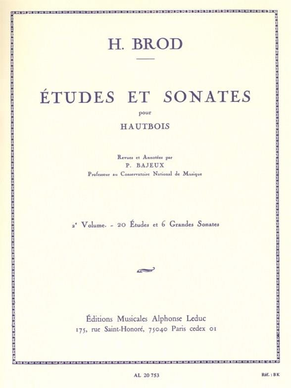 Henri Brod - Studies and Sonatas - Volume 2 - Partition - di-arezzo.co.uk