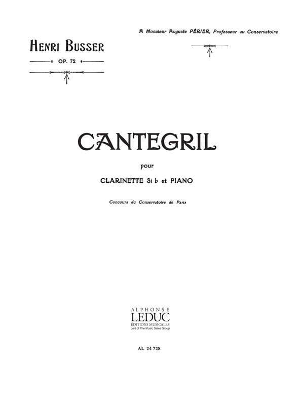 Cantegril op. 72 - Henri Busser - Partition - laflutedepan.com