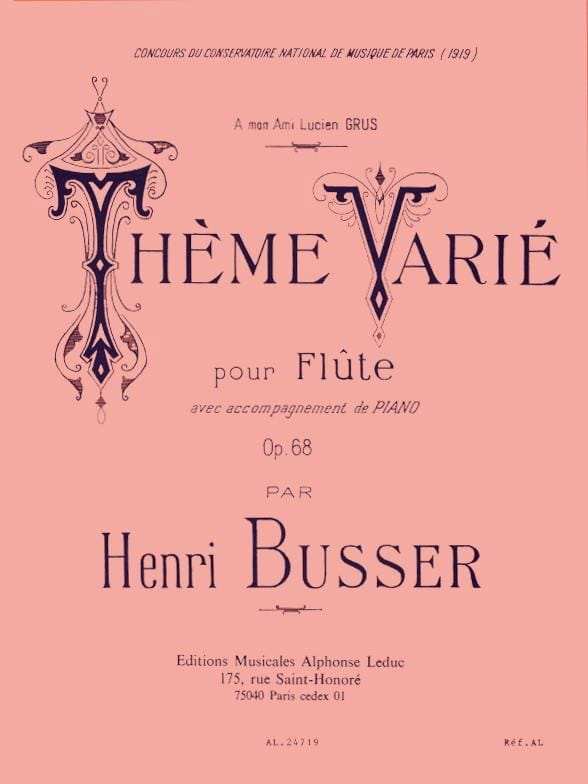 Henri Busser - Varied theme op. 68 - Partition - di-arezzo.co.uk