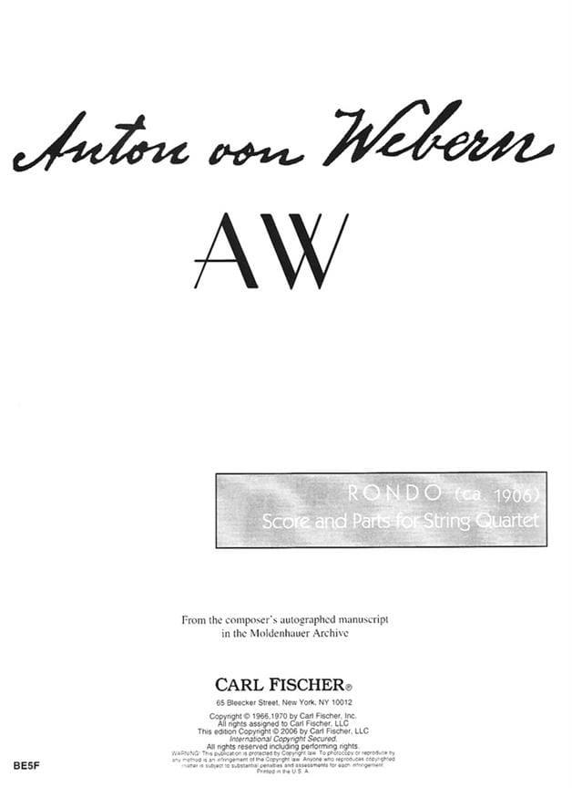 Anton Webern - Rondo 1906 - Partition - di-arezzo.co.uk