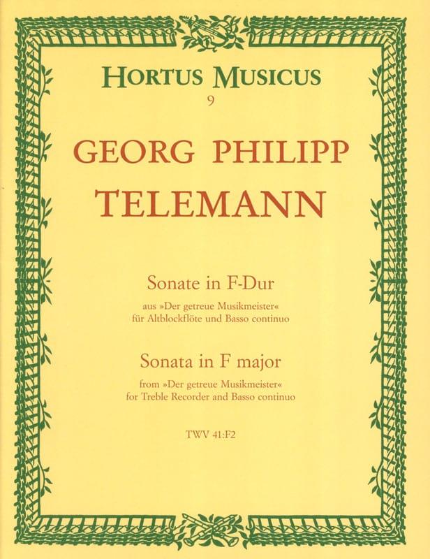 TELEMANN - Sonata in F-Dur - Altblockflöte u. Bc - Partition - di-arezzo.co.uk