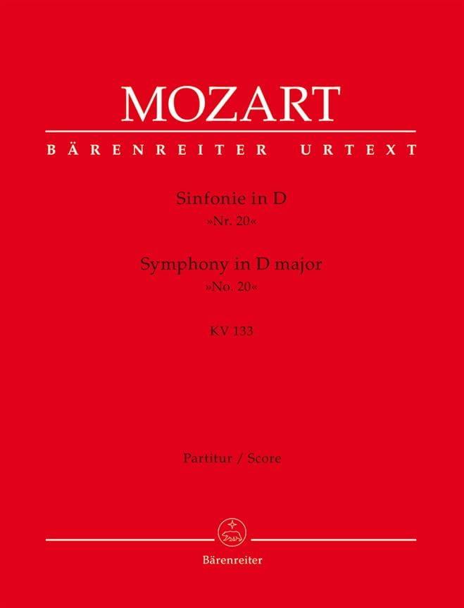 Symphonie N° 20 D-Dur Kv 133 - Partitur - MOZART - laflutedepan.com