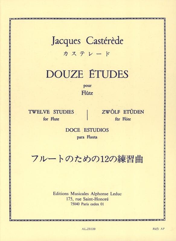 Jacques Castérède - 12 Etudes - Flute - Partition - di-arezzo.co.uk