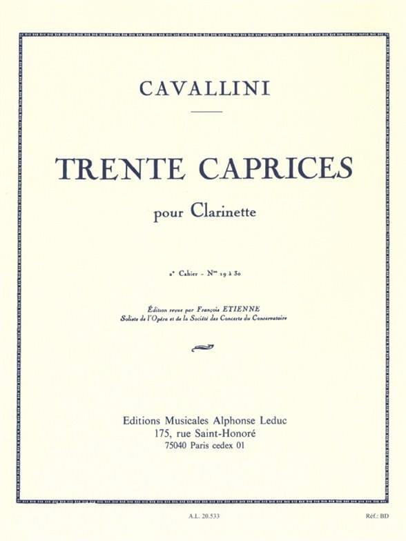 Ernesto Cavallini - 30 Caprices - Volume 2 - Clarinet - Partition - di-arezzo.co.uk