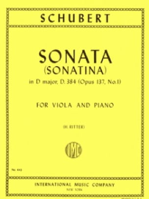 SCHUBERT - Sonatina No. 1 op. 137 - D. 384 - Partition - di-arezzo.co.uk