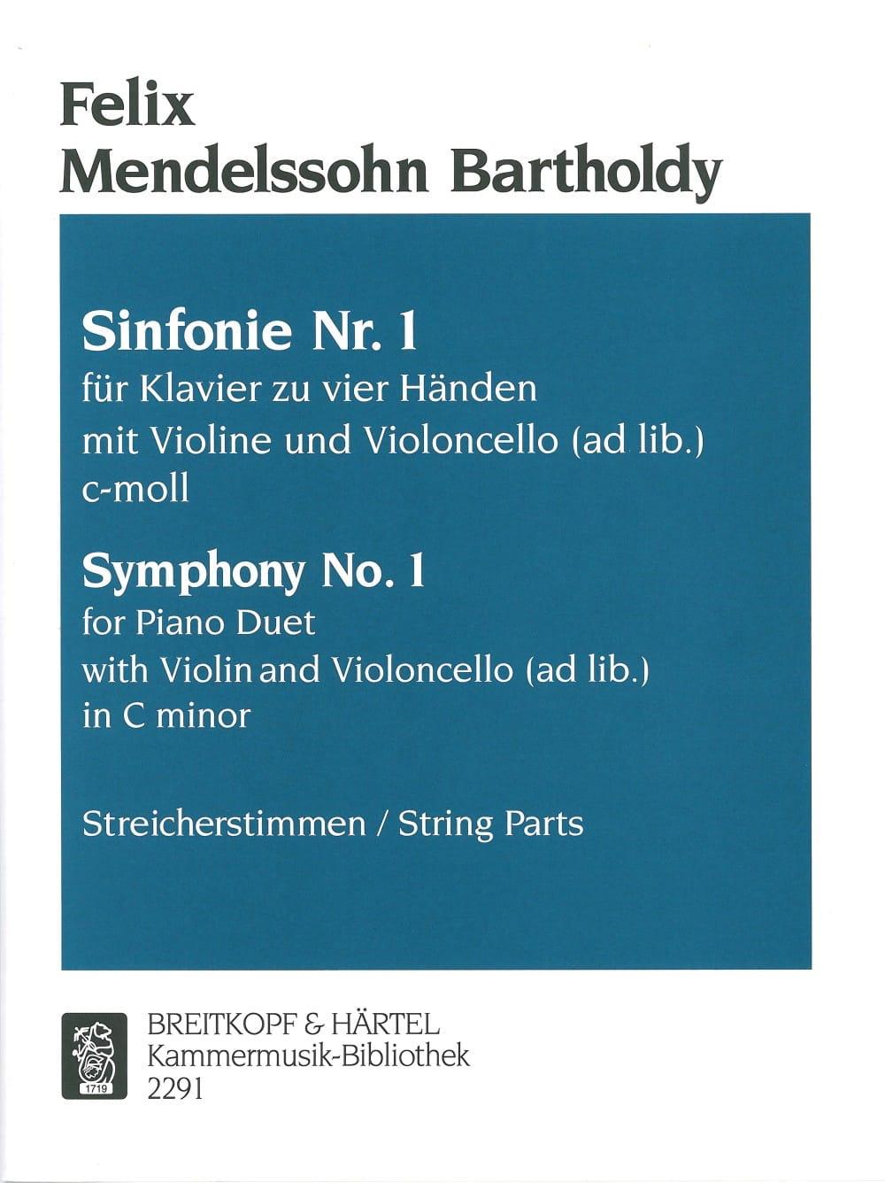 Symphonie N° 1 En Do Min. - MENDELSSOHN - Partition - laflutedepan.com