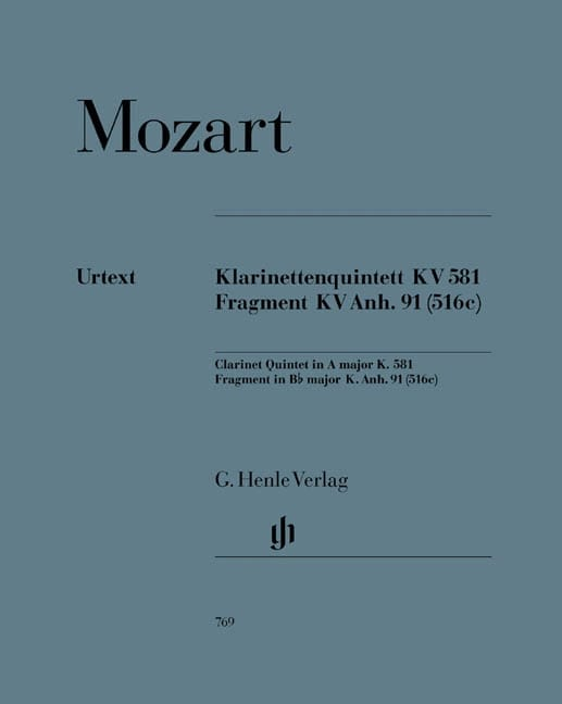 MOZART - Quintet with clarinet in A major K. 581 and fragment K. Anh. 91 516c - Partition - di-arezzo.com