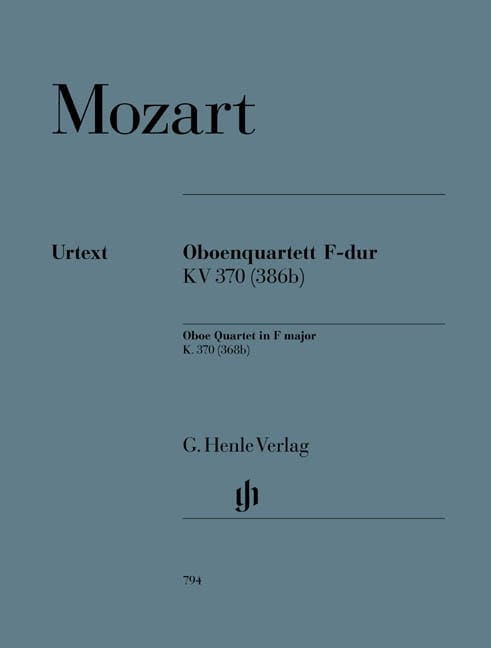 MOZART - Quartet with oboe in F major KV 370 368b - Partition - di-arezzo.co.uk