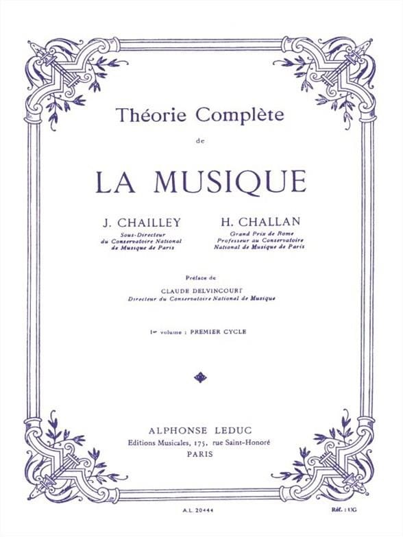 Jacques Chailley / Henri Challan - Complete Theory of Music - Volume 1 - Partition - di-arezzo.co.uk
