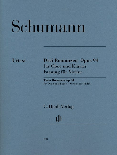 SCHUMANN - Three Romances op. 94 for oboe and piano - Partition - di-arezzo.co.uk
