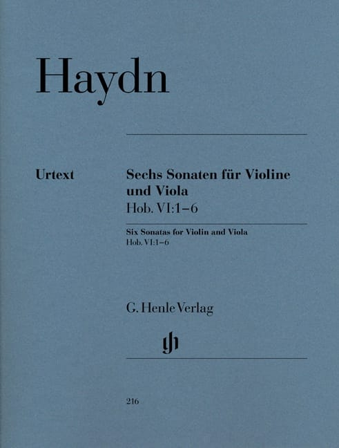 HAYDN - Six Hob sonatas. VI: 1-6 for violin and viola - Partition - di-arezzo.co.uk