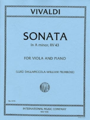VIVALDI - Sonata in Minor RV 43 - Viola - Partition - di-arezzo.co.uk