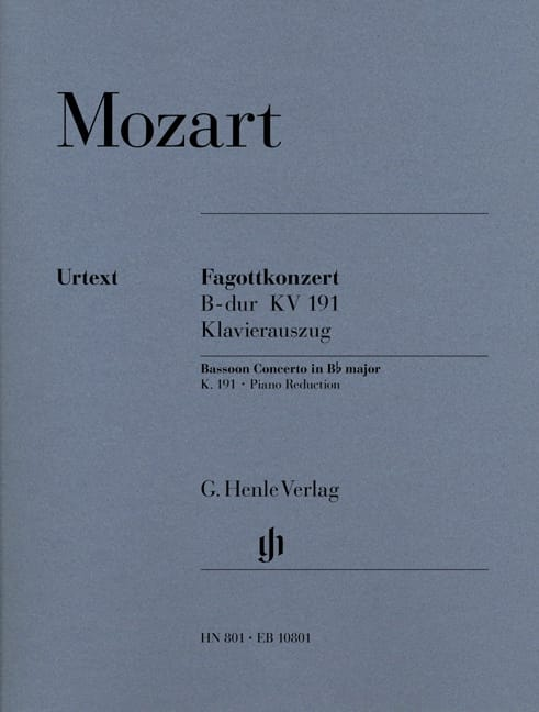 MOZART - Bassoon Concerto in B flat major KV 191 - Partition - di-arezzo.com