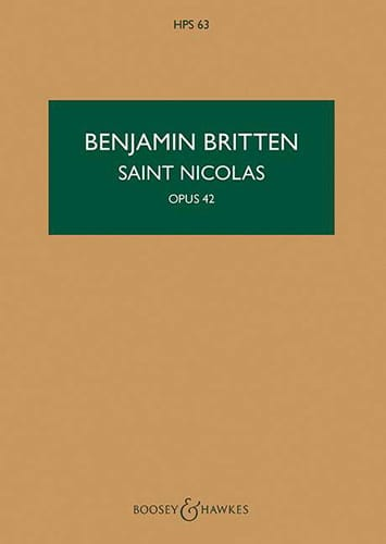 Benjamin Britten - Saint Nicholas Op. 42 - Partition - di-arezzo.co.uk
