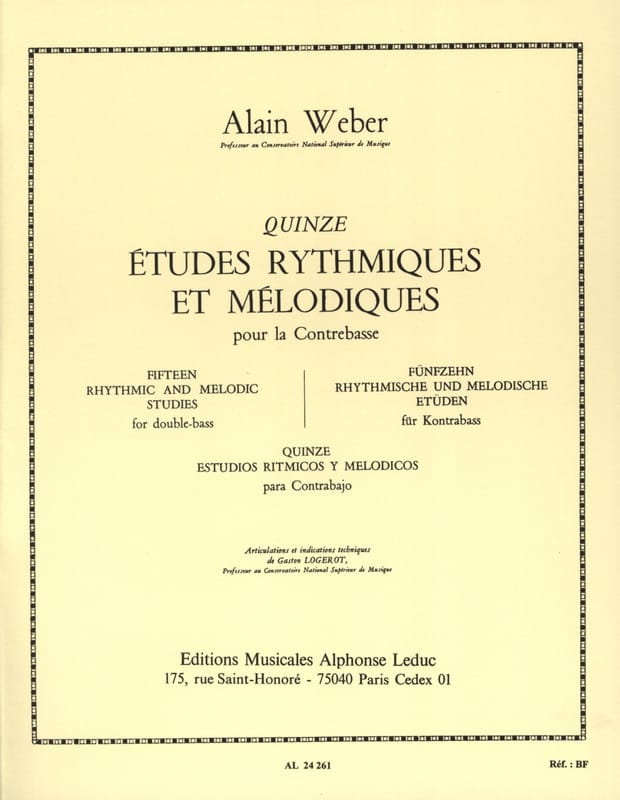 Alain Weber - Rhythmic and Melodic Studies - Partition - di-arezzo.co.uk