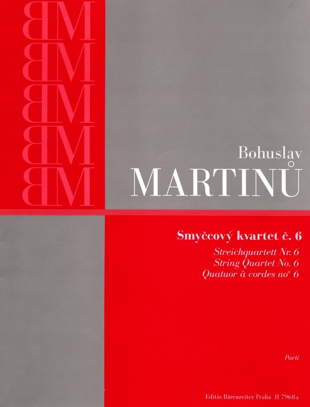 Bohuslav Martinu - String Quartet No. 6 - Parts - Partition - di-arezzo.com