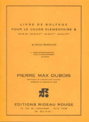 Pierre-Max Dubois - Book of solfège élém. B - floor key without acc. - Partition - di-arezzo.com