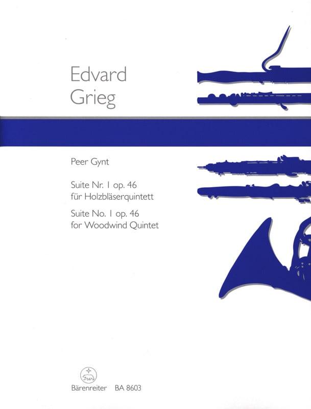 Edvard Grieg - Peer Gynt Suite n ° 1 op. 46 - Holzbläserquintett - Partitur Stimmen - Partition - di-arezzo.co.uk